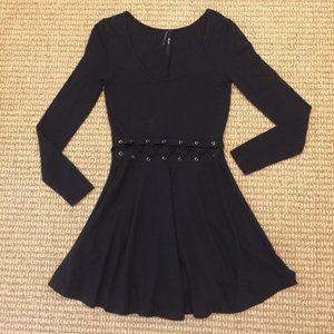 Nasty Gal Lace Up Cutout Black Dress Medium